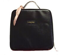 Lancome Large Travel Cosmetic Bag / Gift Bag Black w Scarf Case Zipper Pouch NEW