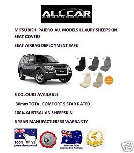 Sheepskin Car Seatcovers for Mitsubishi Pajero,Seat Airbag Safe, 5 Colours 30mm