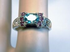 NATURAL BLUE ZIRCON RED RUBY RING SIZE 6.75 925 STERLING SILVER USA MADE