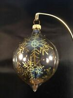 11 Vintage Rauch Tear Drop Christmas Ornament Clear Hand Painted Gold Snowflakes