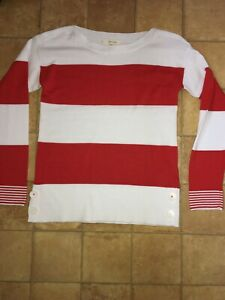 White Stuff Red/white Organic Cotton Jumper, Size 8, Brand New Without Tags