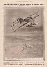 1919-VINTAGE PRINT- SAILS AS CAMOUFLAGE, SEAPLANE BOMBING DISGUISED U-BOAT