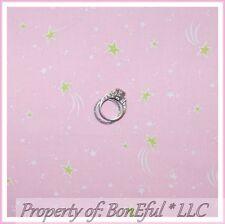 BonEful FABRIC FQ Cotton Quilt Baby Girl Princess Star Pink White Dot Nursery NR