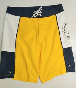 RM Williams mens board shorts size 32 yellow and black swimmers summer casual