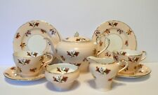 Aynsley Peach Floral Bone China Teapot Cups Saucers Plates Set
