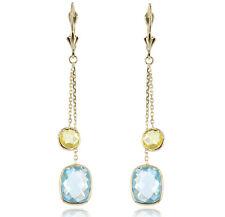 14k Oro Amarillo Pendientes largos con limón y Azul Topacio piedras preciosas
