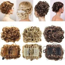 Short Messy Curly Dish Hair Bun Extension Easy Stretch hair Combs Clip in Ponyt