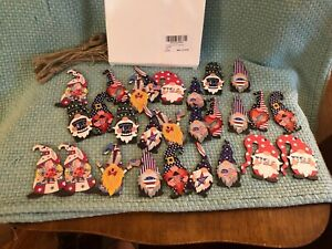 KNOME 4TH OF JULY WOOD ORNAMENTS 27 PIECE SET