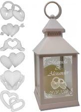 Laterne LED Kerze weiß mit Wunschtext Gravur u. 3D Motiv 24 cm Hochzeitslaterne