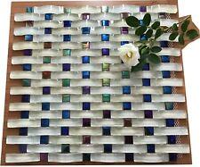 Light Beige Sky Blue 3D Weaved Glass Rectangle  Mosaic Tiles