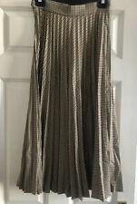 Zara Pleated Check Skirt Midi Long Accordion Camel Brown  Xs Small