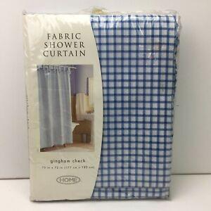 Home Plaid Gingham Check Blue and White Fabric Shower Curtain 70 x 72 Bathroom