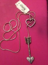 "Betsey Johnson ""Hearts and Arrows"" Pave Long Lariat Necklace, 33"" B12"