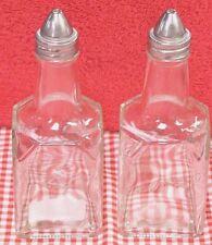 Set of 2 Cruet Bottle Heavy Glass Vinegar Oil Dressing Vinaigrette Soy Sauce