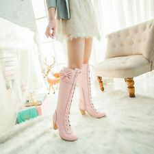 Sweet Women's Knee High Boots Bowknot Lace Up Chunky Heel Block Cosplay Shoes