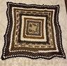 "Vintage Hand Made Crochet Blanket Afghan Tan Brown Beige White 60"" Square VTG"