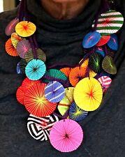 GUMP'S Four Strand Necklace Unique Multi-Color Fabric Flower Discs - New $125
