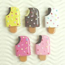 "US SELLER- 10 pcs x (1 1/8"") Resin Ice Cream Bar Flatback Bead Appliques SB619"