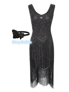 Black Ladies 1920s Roaring 20s Flapper Gatsby Costume Sequins Outfit Dress