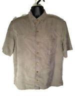 Caribbean Size L Camp Shirt Textured Pale Green Leaves Modal Hawaiian