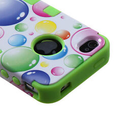 for iPhone 4 4G 4S -Green White Bubbles Dual Layer Hard & Soft Rubber Case Cover