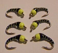 New listing Zebra Midge Black & Fl Chart Bead #22-Fly Fishing Flies-Trout Flies New Sp