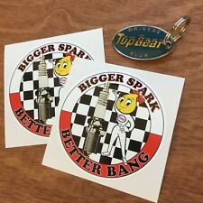 Bigger Spark Classic Retro car race rally Motorcycle Stickers Décalques 90 mm 2 off