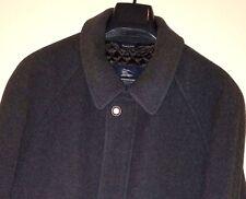 "BURBERRY 'Paolo"" Dk Gray Wool/Cashmere Blend Nova Plaid Lined Coat Sz. XL*Italy*"