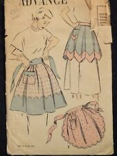 Rare VTG 50s ADVANCE 4998 Scalloped/Gored Aprons in 3 Versions PATTERN S/24-26W