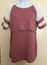 Nursing Top Heathered Red & Off-White Athletic Jersey Style size M Breastfeeding
