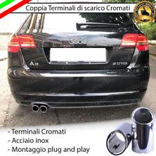 COPPIA TERMINALI DI SCARICO PER MARMITTA CROMATO INOX AUDI A3 8PA SPORTBACK