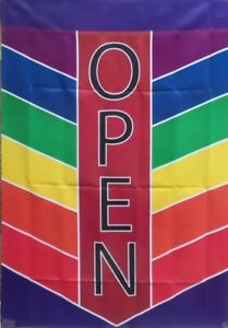 "OPEN Flag for Shops Chevron, Rainbow Colors, Large 28"" x 40"", In The Breeze #730"