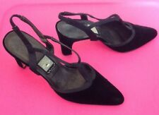 NINA Strappy Heels Slingback T-Strap Pumps Black Velvet Satin Womens Size 8.5 N