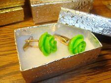 1 Pair (2) GREEN Rose Flower Design Hamilton Gold Plated Cuff links W/Gift Box