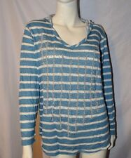Avenue Blue White Striped Hooded Sweater size 18 / 20 Beaded Silver Long Sleeved