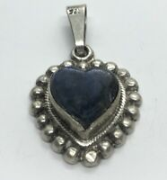 Vintage Sterling Silver Necklace 925 Pendant Taxco Mexico Blue Heart Sodalite