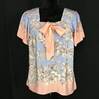 Anthropologie 2 Sm 100% Silk Blouse Top Romantic Pink Blue Pussy Bow LIL Sunset