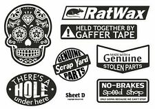 B&W Euro Style Retro Ratlook Camper Van Car Sticker Decal Set Sheet A4 Size (D