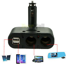 Dual USB & 2 Way Car Cigarette Lighter Socket Splitter DC 12V Charger Adapter US