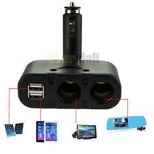 Dual USB & 2 Way Car Cigarette Lighter Socket Splitter DC 12V Charger Adapter US