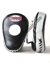 Sandee Leather Black & White Curved Focus Mitt Muay Thai Boxing MMA