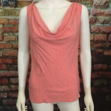 Rock & Republic sz S Coral Studded Draped Neck Sleeveless Tank Blouse Top