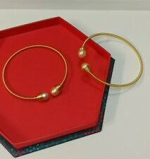 Handmade Natural Freshwater Pearl (8mm) Bracelet Bangle 14k Gold Plated