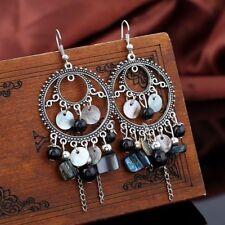Colorful Long Beads Jewelry Hook Dangle Earrings Tassel Chain Ear Stud