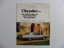 Brochure CHRYSLER 1977 en français pour le Canada.