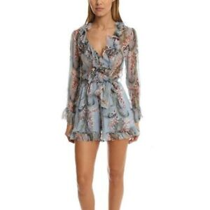Square Mile Zimm Winsome Ruffle Blue Floral Chiffon Playsuit Size 0/ AU 6