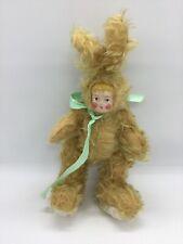 "PRISCILLA PRIS ARKOIAN Handmade Two Face Girl Rabbit Bunny Plush 12"""