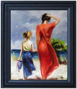 Framed Mother and Daughter Strolling on Beach Repro Quality Oil Painting 16x20in