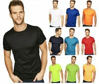 Mens Plain T-shirt Mens POLYESTER Crew Neck T-Shirts Tee Top Longline Muscle TOP
