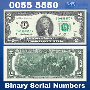 2013 FRN $2 Two Dollar Bill Minneapolis, Binary Serial Numbers I00555550A, UNC